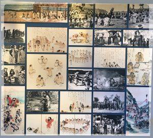 Vanhoja valokuvia ainuista sekä japanilaisten taiteilijoiden näkemyksiä heistä.
